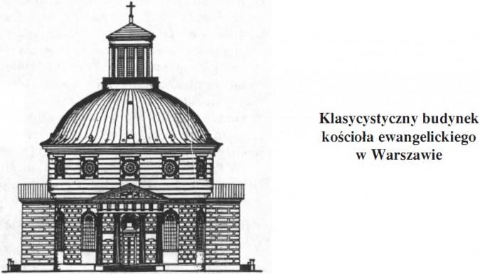 Klasycystyczny budynek kościoła ewangelickiego w Warszawie