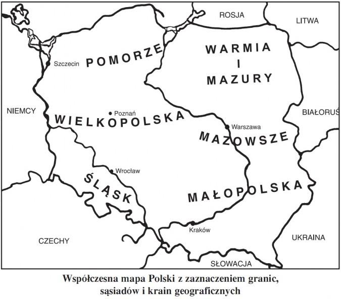 Współczesna mapa Polski z zaznaczeniem granic, sąsiadów i krain geograficznych