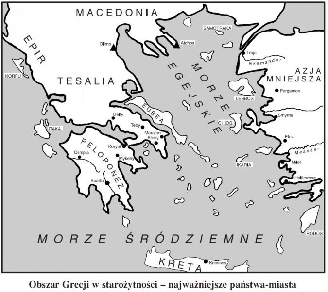 Obszar Grecji w starożytności - najważniejsze państwa-miasta