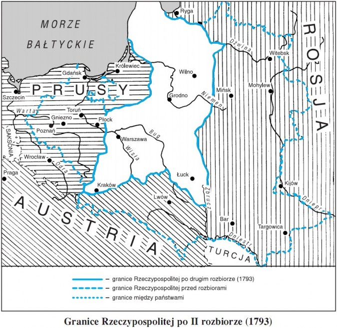 Granice Rzeczypospolitej po II rozbiorze (1793)