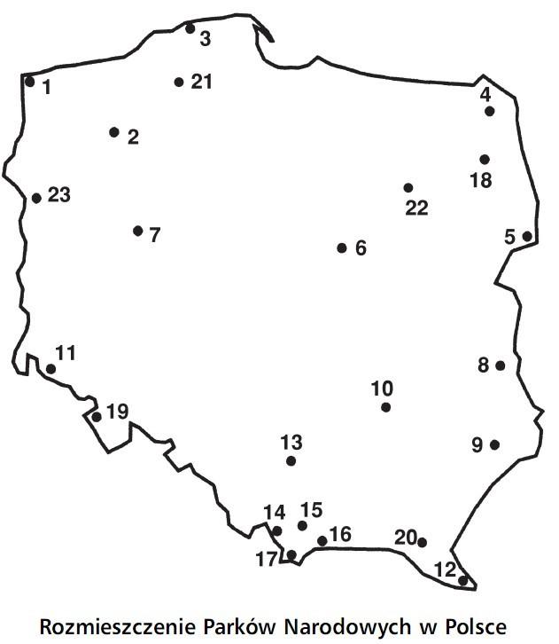 Rozmieszczenie Parków Narodowych w Polsce.