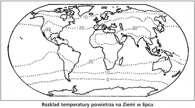 Rozkład temperatury powietrza na Ziemi w lipcu.