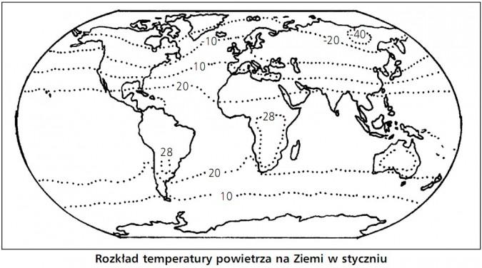 Rozkład temperatury powietrza na Ziemi w styczniu.