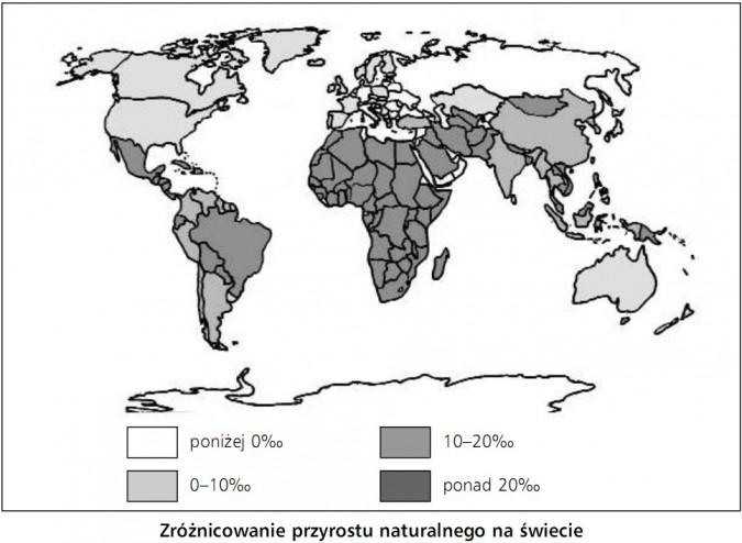 Zróżnicowanie przyrostu naturalnego na świecie.