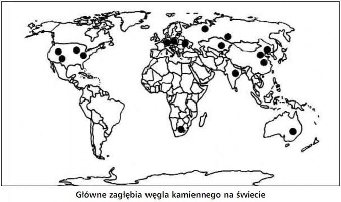 Główne zagłębia węgla kamiennego na świecie.