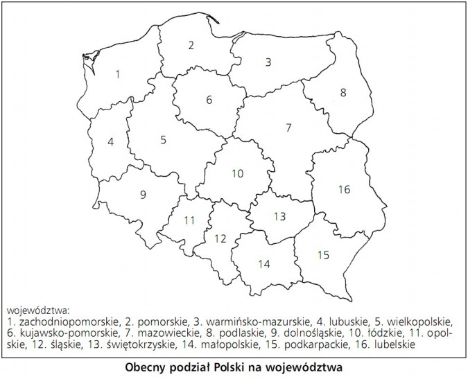 Obecny podział Polski na województwa: zachodniopomorskie, pomorskie, warmińsko-mazurskie, lubuskie, wielkopolskie, kujawsko-pomorskie, mazowieckie, podlaskie, dolnośląskie, łódzkie, opolskie, śląskie, świętokrzyskie, małopolskie, podkarpackie, lubelskie.