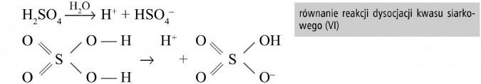 Równanie reakcji dysocjacji kwasu siarkowego (VI).