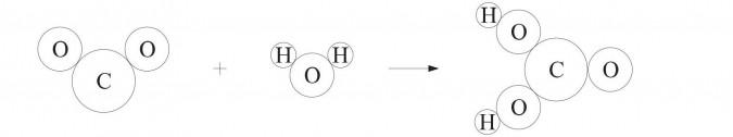 Kwas węglowy - ilustracja modelowa.