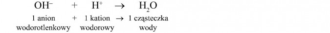 1 anion wodorotlenkowy + 1 kation wodorowy = 1 cząsteczka wody