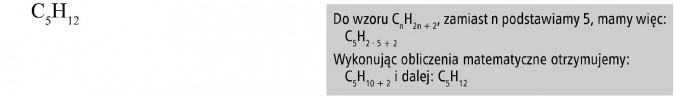 Alkany. Do wzoru... zamiast n podstawiamy 5, mamy więc... Wykonując obliczenia matematyczne otrzymujemy...