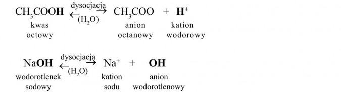 Właściwości chemiczne kwasów karboksylowych. Kwas octowy, anion octanowy, kation wodorowy, dysocjacja. Wodorotlenek sodowy, kation sodu, anion wodorotlenowy.