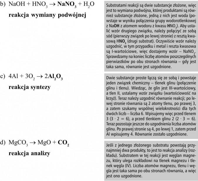 Substratami reakcji są dwie substancje złożone, więc jest to wymiana podwójna, której produktami są również substancje złożone, jedną z nich jest woda (powstaje w wyniku połączenia grupy wodorotlenkowej z NaOH z atomem wodoru z kwasu HNO3). Aby ustalić wzór drugiego związku, należy połączyć ze sobą sód (pierwszy związek po lewej stronie) z resztą kwasową HNO3 (drugi substrat). Oczywiście wzór należy uzgodnić, w tym przypadku i metal i reszta kwasowa są I-wartościowe, więc dostajemy wzór - NaNO3. Sprawdzamy na koniec liczbę atomów poszczególnych pierwiastków po obu stronach równania - gdy jest taka sama, równanie jest uzgodnione. Dwie substancje proste łączą się ze sobą i powstaje jeden związek chemiczny - tlenek glinu (połączenie glinu i tlenu). Wiedząc, że glin jest III-wartościowy, a tlen II, ustalamy wzór związku (wartościowość na krzyż). Teraz należy uzgodnić równanie reakcji; po lewej stronie równania są 2 atomy tlenu, po prawej 3, a zatem szukamy wspólnej wielokrotności dla tych dwóch liczb - liczba 6. Wpisujemy więc przed tlenem 3 (3 · 2 = 6), a przed tlenkiem glinu 2 (2 · 3 = 6). Teraz pozostaje jeszcze do uzgodnienia liczba atomów glinu. Po prawej stronie są 4, po lewej 1, zatem przed Al wpisujemy 4. Równanie zostało uzgodnione. Jeśli z jednego złożonego substratu powstają przynajmniej dwa produkty, to jest to reakcja analizy (rozkładu). Substratem w tej reakcji jest węglan magnezu, który ulega rozkładowi na tlenek magnezu i tlenek węgla (IV). Liczba atomów magnezu, tlenu i węgla jest taka sama po obu stronach równania, a więc jest ono uzgodnione.