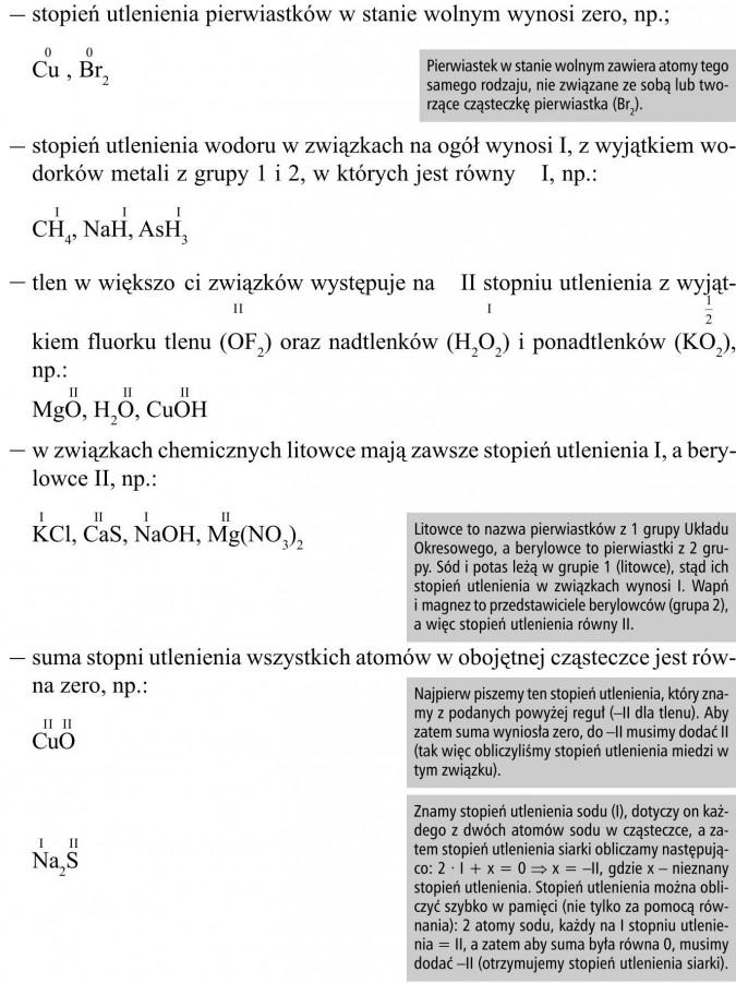 Stopień utlenienia pierwiastków w stanie wolnym wynosi zero. Stopień utlenienia wodoru w związkach na ogół wynosi I, z wyjątkiem wodorków metali z grupy 1 i 2, w których jest równy - I. Tlen w większości związków występuje na - II stopniu utlenienia z wyjątkiem fluorku tlenu (OF2) oraz nadtlenków (H2O2) i ponadtlenków (KO2). W związkach chemicznych litowce mają zawsze stopień utlenienia I, a berylowce II. Suma stopni utlenienia wszystkich atomów w obojętnej cząsteczce jest równa zero. Litowce to nazwa pierwiastków z 1 grupy Układu Okresowego, a berylowce to pierwiastki z 2 grupy. Sód i potas leżą w grupie 1 (litowce), stąd ich stopień utlenienia w związkach wynosi I. Wapń i magnez to przedstawiciele berylowców (grupa 2), a więc stopień utlenienia równy II. Najpierw piszemy ten stopień utlenienia, który znamy z podanych powyżej reguł (-II dla tlenu). Aby zatem suma wyniosła zero, do -II musimy dodać II (tak więc obliczyliśmy stopień utlenienia miedzi w tym związku). Znamy stopień utlenienia sodu (I), dotyczy on każdego z dwóch atomów sodu w cząsteczce, a zatem stopień utlenienia siarki obliczamy następująco: 2 · I + x = 0 ⇒ x = -II, gdzie x - nieznany stopień utlenienia. Stopień utlenienia można obliczyć szybko w pamięci (nie tylko za pomocą równania): 2 atomy sodu, każdy na I stopniu utlenienia = II, a zatem aby suma była równa 0, musimy dodać -II (otrzymujemy stopień utlenienia siarki). Pierwiastek w stanie wolnym zawiera atomy tego samego rodzaju, nie związane ze sobą lub tworzące cząsteczkę pierwiastka (Br2).