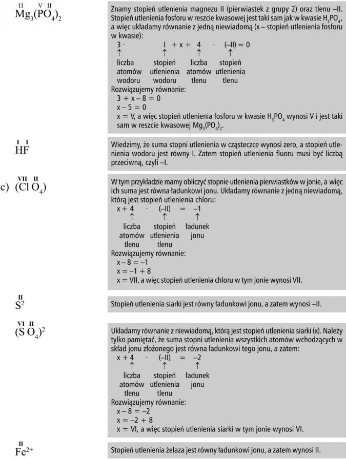 Znamy stopień utlenienia magnezu II (pierwiastek z grupy 2) oraz tlenu -II. Stopień utlenienia fosforu w reszcie kwasowej jest taki sam jak w kwasie H3PO4, a więc układamy równanie z jedną niewiadomą (x - stopień utlenienia fosforu w kwasie)... a więc stopień utlenienia fosforu w kwasie H3PO4 wynosi V i jest taki sam w reszcie kwasowej Mg3(PO4)2. Wiemy, że suma stopni utlenienia w cząsteczce wynosi zero, a stopień utlenienia wodoru jest równy I. Zatem stopień utlenienia fluoru musi być liczbą przeciwną, czyli -I. W tym przykładzie mamy obliczyć stopnie utlenienia pierwiastków w jonie, a więc ich suma jest równa ładunkowi jonu. Układamy równanie z jedną niewiadomą, którą jest stopień utlenienia chloru... a więc stopień utlenienia chloru w tym jonie wynosi VII. Stopień utlenienia siarki jest równy ładunkowi jonu, a zatem wynosi -II. Układamy równanie z niewiadomą, którą jest stopień utlenienia siarki (x). Należy tylko pamiętać, że suma stopni utlenienia wszystkich atomów wchodzących w skład jonu złożonego jest równa ładunkowi tego jonu, a zatem... a więc stopień utlenienia siarki w tym jonie wynosi VI. Stopień utlenienia żelaza jest równy ładunkowi jonu, a zatem wynosi II.