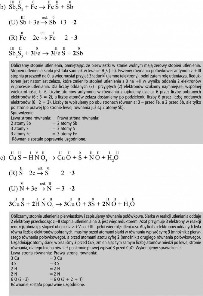 Obliczamy stopnie utlenienia, pamiętając, że pierwiastki w stanie wolnym mają zerowy stopień utlenienia. Stopień utlenienia siarki jest taki sam jak w kwasie H2S (-II). Piszemy równania połówkowe: antymon z +III stopnia przeszedł na 0, a więc musiał przyjąć 3 ładunki ujemne (elektrony), pełni zatem rolę utleniacza. Reduktorem jest natomiast żelazo, które zmieniło stopień utlenienia z 0 na +II w wyniku oddania 2 elektronów w procesie utleniania. Dla liczby oddanych (3) i przyjętych (2) elektronów szukamy najmniejszej wspólnej wielokrotności, tj. 6. Liczbę atomów antymonu w równaniu znajdujemy dzieląc 6 przez liczbę pobranych elektronów (6 : 3 = 2), a liczbę atomów żelaza dostaniemy po podzieleniu liczby 6 przez liczbę oddanych elektronów (6 : 2 = 3). Liczby te wpisujemy po obu stronach równania; 3 - przed Fe, a 2 przed Sb, ale tylko po stronie prawej (po stronie lewej równania już są 2 atomy Sb). Sprawdzenie: lewa strona równania, prawa strona równania... Równanie zostało poprawnie uzgodnione. Obliczamy stopnie utlenienia pierwiastków i zapisujemy równania połówkowe. Siarka w reakcji utleniania oddaje 2 elektrony przechodząc z -II stopnia utlenienia na 0, jest więc reduktorem. Azot przyjmuje 3 elektrony w reakcji redukcji, obniżając stopień utlenienia z +V na +III - pełni więc rolę utleniacza. Aby liczba elektronów oddanych była równa liczbie elektronów pobranych, musimy przed atomami siarki w równaniu wpisać cyfrę 3 (mnożnik z pierwszego równania połówkowego), a przed atomami azotu cyfrę 2 (mnożnik z drugiego równania połówkowego). Uzgadniając atomy siarki wpisaliśmy 3 przed CuS, zmieniając tym samym liczbę atomów miedzi po lewej stronie równania, dlatego trzeba również po stronie prawej wpisać 3 przed CuO. Wykonujemy sprawdzenie...