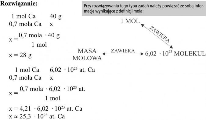 Przy rozwiązywaniu tego typu zadań należy powiązać ze sobą informacje wynikające z definicji mola. 1 mol, masa molowa, molekuł.