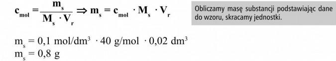 Obliczamy masę substancji podstawiając dane do wzoru, skracamy jednostki.