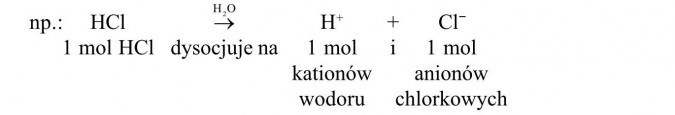 1 mol HCl dysocjuje na 1 mol kationów wodoru i 1 mol anionów chlorkowych