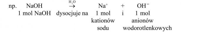 1 mol NaOH dysocjuje na 1 mol kationów sodu i 1 mol anionów wodorotlenkowych.