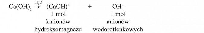 1 mol kationów hydroksomagnezu + 1 mol anionów wodorotlenkowych.
