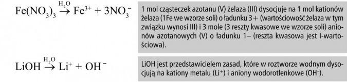 1 mol cząsteczek azotanu (V) żelaza (III) dysocjuje na 1 mol kationów żelaza (1Fe we wzorze soli) o ładunku 3+ (wartościowość żelaza w tym związku wynosi III) i 3 mole (3 reszty kwasowe we wzorze soli) anionów azotanowych (V) o ładunku 1- (reszta kwasowa jest I-wartościowa). LiOH jest przedstawicielem zasad, które w roztworze wodnym dysocjują na kationy metalu (Li+) i aniony wodorotlenkowe (OH-).