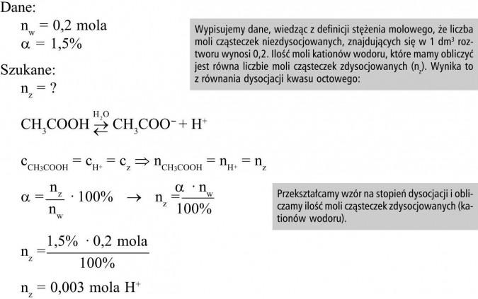 Wypisujemy dane, wiedząc z definicji stężenia molowego, że liczba moli cząsteczek niezdysocjowanych, znajdujących się w 1 dm3 roztworu wynosi 0,2. Ilość moli kationów wodoru, które mamy obliczyć jest równa liczbie moli cząsteczek zdysocjowanych (nz). Wynika to z równania dysocjacji kwasu octowego. Przekształcamy wzór na stopień dysocjacji i obliczamy ilość moli cząsteczek zdysocjowanych (kationów wodoru).