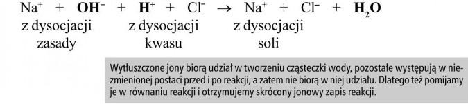 Wytłuszczone jony biorą udział w tworzeniu cząsteczki wody, pozostałe występują w niezmienionej postaci przed i po reakcji, a zatem nie biorą w niej udziału. Dlatego też pomijamy je w równaniu reakcji i otrzymujemy skrócony jonowy zapis reakcji.