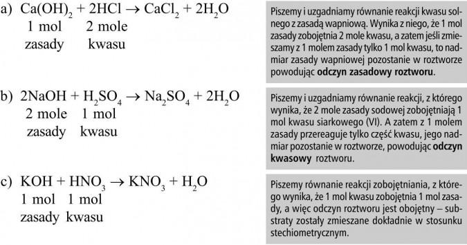 Piszemy i uzgadniamy równanie reakcji kwasu solnego z zasadą wapniową. Wynika z niego, że 1 mol zasady zobojętnia 2 mole kwasu, a zatem jeśli zmieszamy z 1 molem zasady tylko 1 mol kwasu, to nadmiar zasady wapniowej pozostanie w roztworze powodując odczyn zasadowy roztworu. Piszemy i uzgadniamy równanie reakcji, z którego wynika, że 2 mole zasady sodowej zobojętniają 1 mol kwasu siarkowego (VI). A zatem z 1 molem zasady przereaguje tylko część kwasu, jego nadmiar pozostanie w roztworze, powodując odczyn kwasowy roztworu. Piszemy równanie reakcji zobojętniania, z którego wynika, że 1 mol kwasu zobojętnia 1 mol zasady, a więc odczyn roztworu jest obojętny - substraty zostały zmieszane dokładnie w stosunku stechiometrycznym.