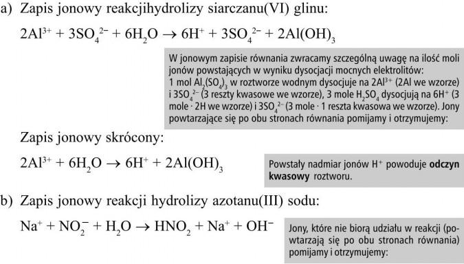 W jonowym zapisie równania zwracamy szczególną uwagę na ilość moli jonów powstających w wyniku dysocjacji mocnych elektrolitów: 1 mol Al2(SO4)3 w roztworze wodnym dysocjuje na 2Al3+ (2Al we wzorze) i 3SO42- (3 reszty kwasowe we wzorze), 3 mole H2SO4 dysocjują na 6H+ (3 mole · 2H we wzorze) i 3SO42- (3 mole · 1 reszta kwasowa we wzorze). Jony powtarzające się po obu stronach równania pomijamy i otrzymujemy... Powstały nadmiar jonów H+ powoduje odczyn kwasowy roztworu. Jony, które nie biorą udziału w reakcji (powtarzają się po obu stronach równania) pomijamy i otrzymujemy: