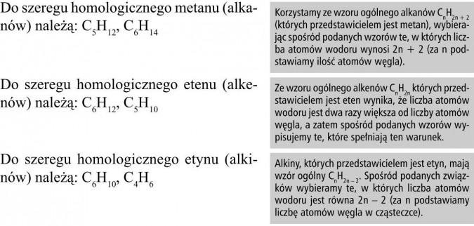 Do szeregu homologicznego metanu (alkanów) należą: C5H12, C6H14. Do szeregu homologicznego etenu (alkenów) należą: C6H12, C5H10. Do szeregu homologicznego etynu (alkinów) należą: C6H10, C4H6. Korzystamy ze wzoru ogólnego alkanów CnH2n + 2 (których przedstawicielem jest metan), wybierając spośród podanych wzorów te, w których liczba atomów wodoru wynosi 2n + 2 (za n podstawiamy ilość atomów węgla). Ze wzoru ogólnego alkenów CnH2n których przedstawicielem jest eten wynika, że liczba atomów wodoru jest dwa razy większa od liczby atomów węgla, a zatem spośród podanych wzorów wypisujemy te, które spełniają ten warunek. Alkiny, których przedstawicielem jest etyn, mają wzór ogólny CnH2n - 2. Spośród podanych związków wybieramy te, w których liczba atomów wodoru jest równa 2n - 2 (za n podstawiamy liczbę atomów węgla w cząsteczce).