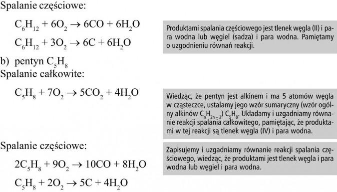 Spalanie częściowe. Pentyn. Spalanie całkowite. Produktami spalania częściowego jest tlenek węgla (II) i para wodna lub węgiel (sadza) i para wodna. Pamiętamy o uzgodnieniu równań reakcji. Wiedząc, że pentyn jest alkinem i ma 5 atomów węgla w cząsteczce, ustalamy jego wzór sumaryczny (wzór ogólny alkinów CnH2n - 2) C5H8. Układamy i uzgadniamy równanie reakcji spalania całkowitego, pamiętając, że produktami w tej reakcji są tlenek węgla (IV) i para wodna. Zapisujemy i uzgadniamy równanie reakcji spalania częściowego, wiedząc, że produktami jest tlenek węgla i para wodna lub węgiel i para wodna.