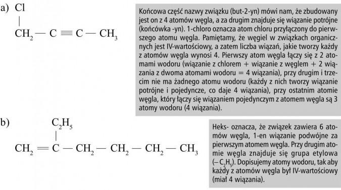 Końcowa część nazwy związku (but-2-yn) mówi nam, że zbudowany jest on z 4 atomów węgla, a za drugim znajduje się wiązanie potrójne (końcówka -yn). 1-chloro oznacza atom chloru przyłączony do pierwszego atomu węgla. Pamiętamy, że węgiel w związkach organicznych jest IV-wartościowy, a zatem liczba wiązań, jakie tworzy każdy z atomów węgla wynosi 4. Pierwszy atom węgla łączy się z 2 atomami wodoru (wiązanie z chlorem + wiązanie z węglem + 2 wiązania z dwoma atomami wodoru = 4 wiązania), przy drugim i trzecim nie ma żadnego atomu wodoru (każdy z nich tworzy wiązanie potrójne i pojedyncze, co daje 4 wiązania), przy ostatnim atomie węgla, który łączy się wiązaniem pojedynczym z atomem węgla są 3 atomy wodoru (4 wiązania). Heks- oznacza, że związek zawiera 6 atomów węgla, 1-en wiązanie podwójne za pierwszym atomem węgla. Przy drugim atomie węgla znajduje się grupa etylowa(- C2H5). Dopisujemy atomy wodoru, tak aby każdy z atomów węgla był IV-wartościowy (miał 4 wiązania).