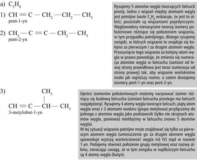 Rysujemy 5 atomów węgla tworzących łańcuch prosty. Jedno z wiązań między atomami węgla jest potrójne (wzór C5H8 wskazuje, że jest to alkin), pozostałe są wiązaniami pojedynczymi. Węglowodory nienasycone tworzą izomery położeniowe różniące się położeniem wiązania, w tym przypadku potrójnego, dlatego rysujemy związki, w których wiązanie to znajduje się kolejno za pierwszym i za drugim atomem węgla. Przesunięcie tego wiązania za kolejny atom węgla w prawo powoduje, że zmienia się numeracja atomów węgla w łańcuchu (zamiast od lewej strony prawidłowa jest teraz numeracja od strony prawej) tak, aby wiązanie wielokrotne miało jak najniższy numer, a zatem dostajemy izomery pent-1-yn oraz pent-2-yn. Oprócz izomerów położeniowych możemy narysować izomer różniący się budową łańcucha (zamiast łańcucha prostego ma łańcuch rozgałęziony). Rysujemy 4 atomy węgla tworzące łańcuch, piąty atom węgla wraz z 3 atomami wodoru (grupa metylowa) przyłączamy do jednego z atomów węgla jako podstawnik (tylko nie skrajnych atomów węgla, ponieważ mielibyśmy w łańcuchu znowu 5 atomów węgla). W tej sytuacji wiązanie potrójne może znajdować się tylko za pierwszym atomem węgla (umieszczenie go za drugim atomem węgla spowoduje wyższą wartościowość węgla niż IV) stąd w nazwie 1-yn. Podajemy również położenie grupy metylowej oraz nazwę alkinu, zwracając uwagę, ze w tym związku w najdłuższym łańcuchu są 4 atomy węgla (butyn).