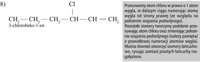 Przesuwamy atom chloru w prawo o 1 atom węgla, w dalszym ciągu numerując atomy węgla od strony prawej (ze względu na położenie wiązania podwójnego). Pozostałe izomery tworzymy podobnie przesuwając atom chloru oraz zmieniając położenie wiązania podwójnego (należy pamiętać o prawidłowej numeracji atomów węgla). Można również utworzyć izomery łańcuchowe, rysując zamiast prostych łańcuchy rozgałęzione.