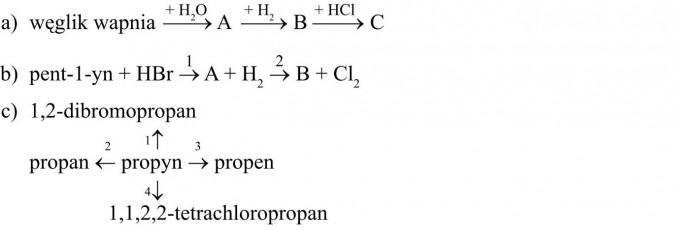 Węglik wapnia. Pent-1-yn. 1,2-dibromopropan. Propan, proyn, propen, 1,1,2,2-tetrachloropropan